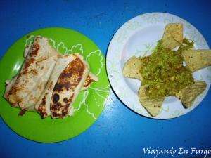 Fajitas y guacamole