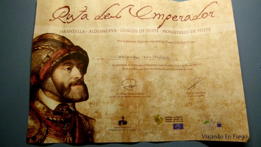 Diploma ruta del emperador Carlos V